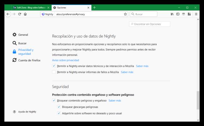 Privacidad Firefox 58