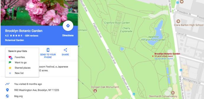 La imagen muestra cómo se crean listas de lugares en Google Maps