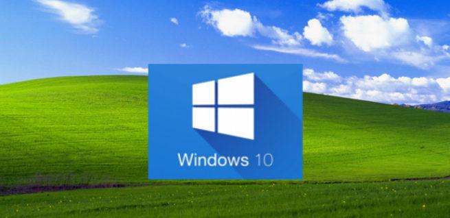 Imagen del fondo de escritorio de Windows 10 con apariencia de Windows XP