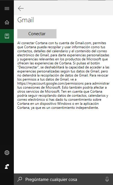 Conectar Gmail a Cortana