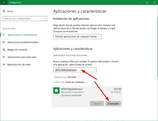 Desinstalar HEVCVideoExtension Windows 10
