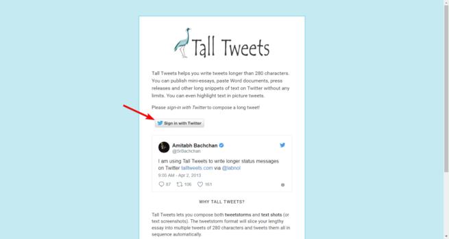 Iniciar sesión Tall Tweets