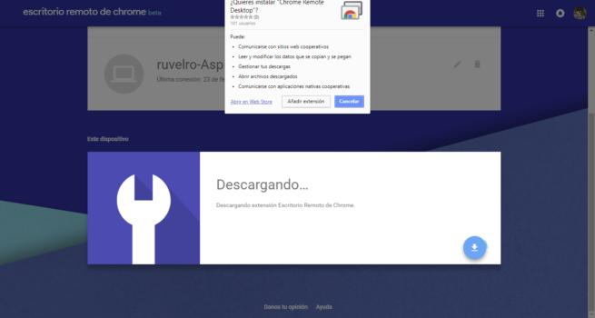 Instalar extensión Escritorio Remoto Google Chrome