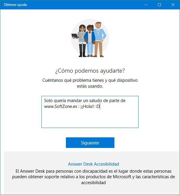 Obtener ayuda soporte técnico Windows 10