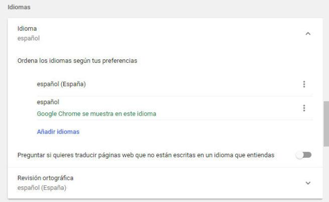 idioma en google chrome