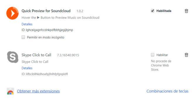 Imagen de la lista de extensiones de nesutro navegador Chrome. Incluye la extensión de SoundCloud para previsualizar canciones