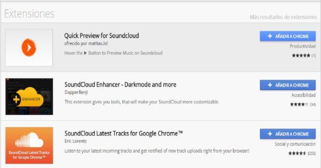 Imagen que muestra diferentes extensiones del navegador Google Chrome para la aplicación musical SoundCloud.