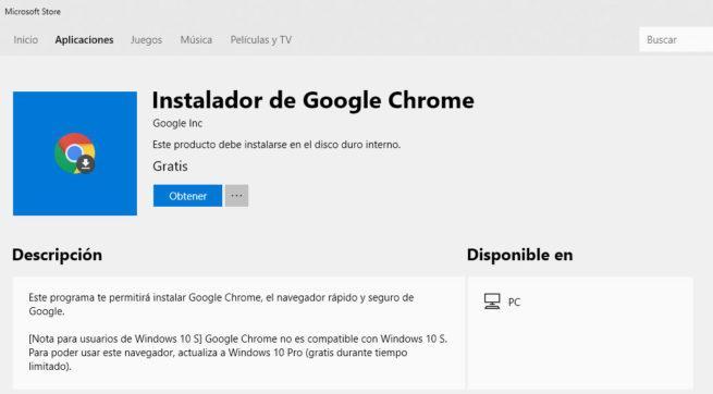 Google Chrome en la Microsoft store