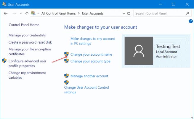 cuenta de usuario de Windows 10
