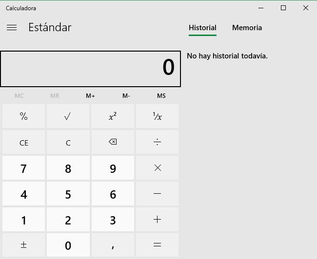 Calculadora sin Fluent Design