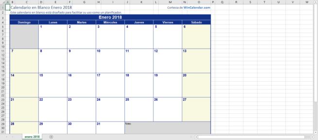 Calendario mensual enero 2018