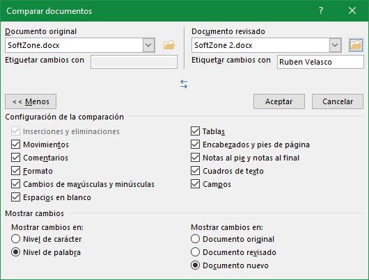 Comparar documentos Word con más opciones