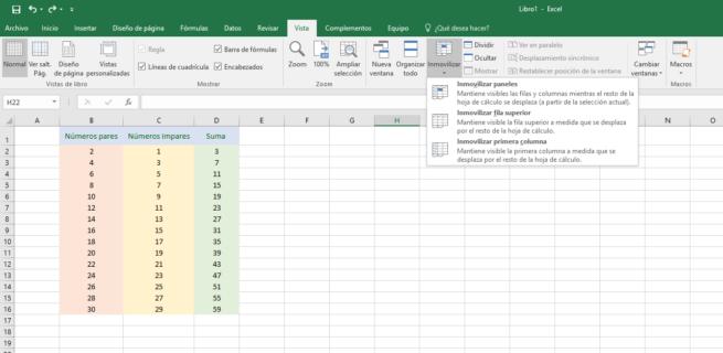 Ejemplo bloquear filas columnas Excel 2016