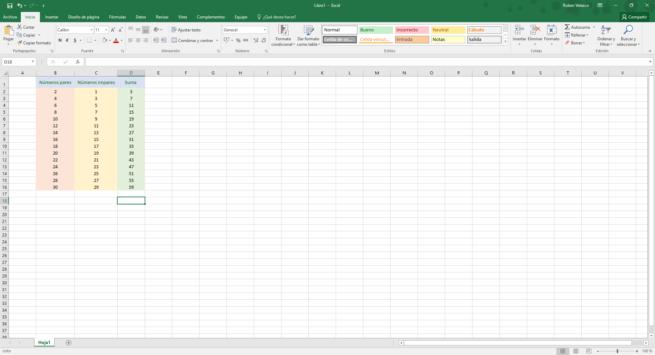 Ejemplo filas columnas Excel 2016