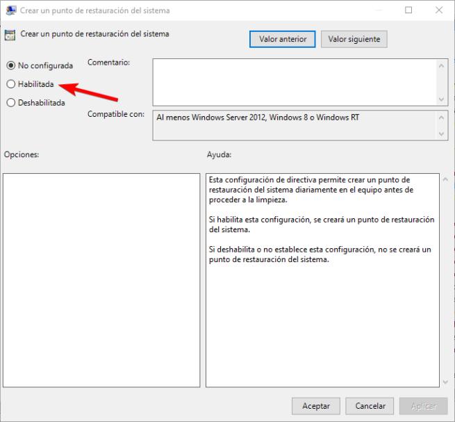 Habilitar politica puntos restauracion Windows Defender Windows 10