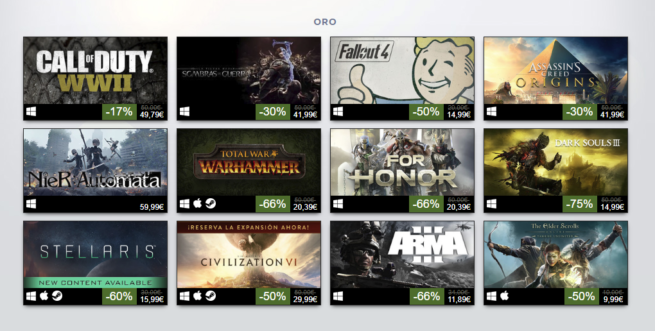 Juegos mas vendidos Steam 2017 - Oro