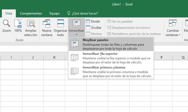 Movilizar paneles Excel 2016