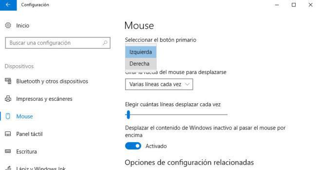 botón izquierdo y derecho del ratón