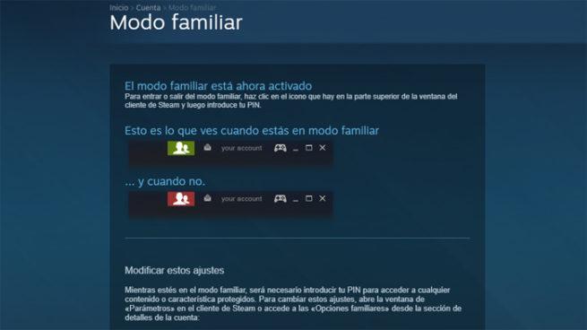 Steam modo familia