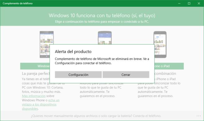 Complemento de Teléfono de Windows 10 . Final Soporte