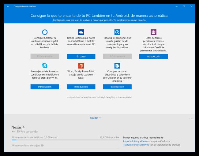 Complemento de Teléfono de Windows 10