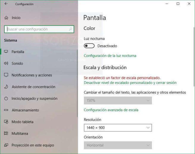Configuración pantalla Windows 10 Spring Creators Update