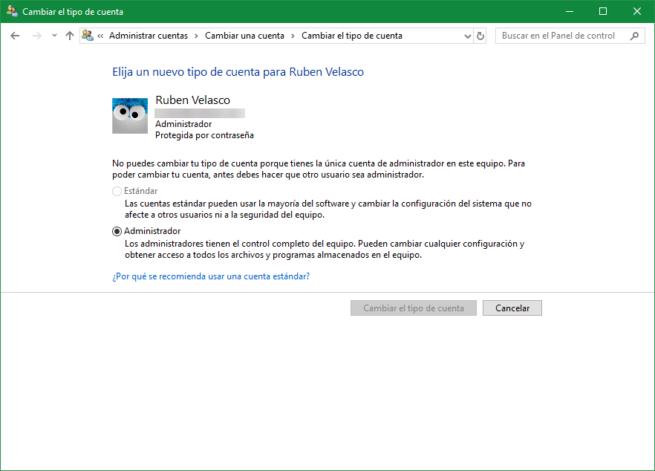 Cuenta Administrador Windows 10