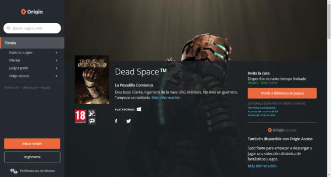 Dead Space gratis Origin