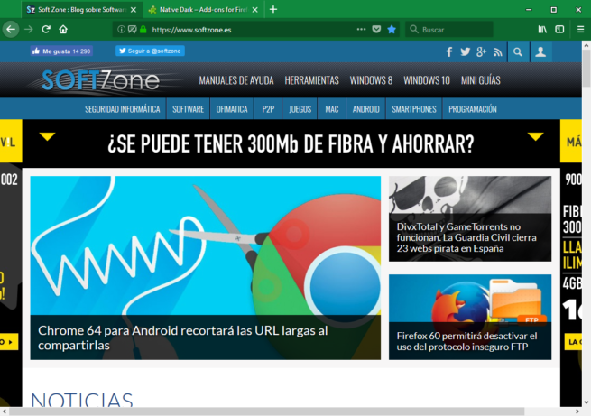 Firefox Quantum en Windows 10 - Native Dark