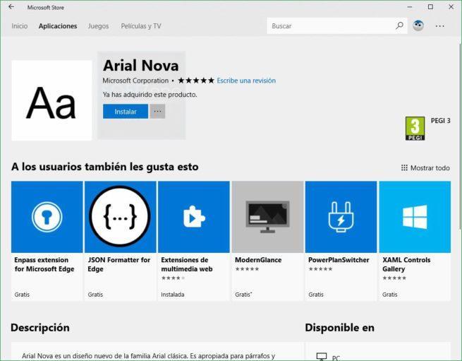 Fuentes en Microsoft Store Windows 10 Redstone 4