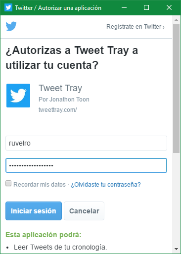 Iniciar sesion Twitter Tweet Tray