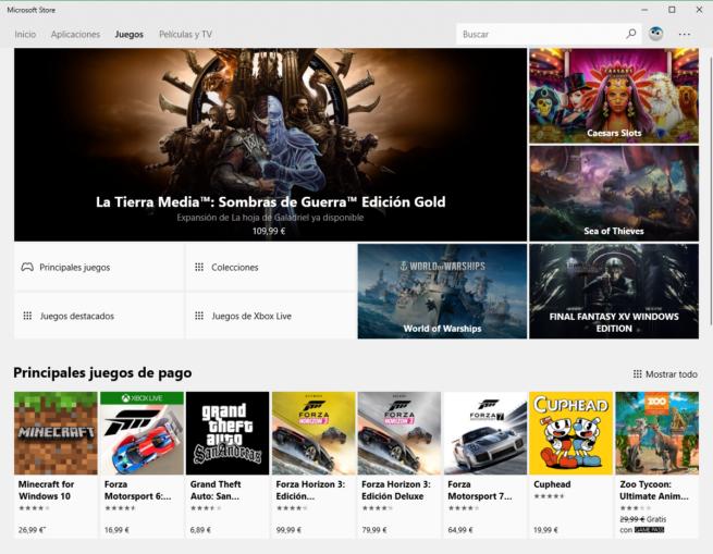 Juegos Microsoft Store