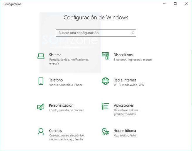 Menú Configuración Windows 10 Spring Creators Update
