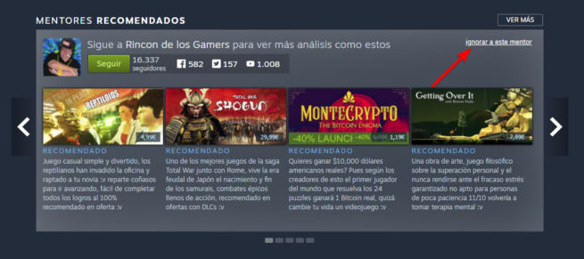 Ocultar mentor Steam