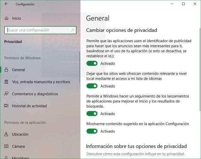 Opciones Privacidad Windows 10 Spring Creators Update