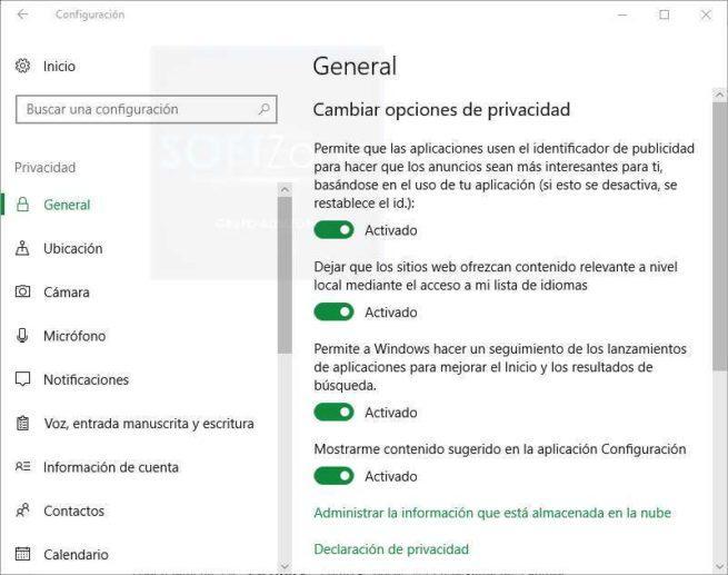 Opciones Privacidad Windows 10 clásico