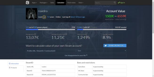 Valor cuenta Steam