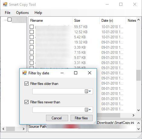 archivos por rango de fechas