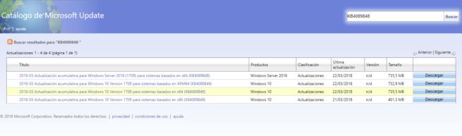 Actualización KB4089848 para Windows 10
