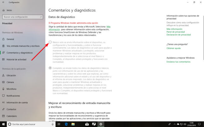 Cambiar diagnostico Windows 10 Spring Creators Update
