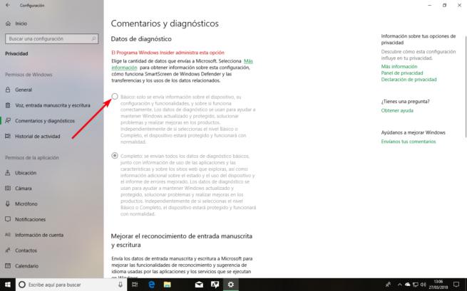 Cambiar diagnostico Windows 10 Spring Creators Update