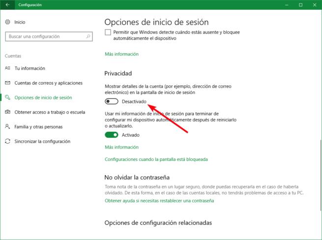 Configuración privacidad pantalla bloqueo Windows 10