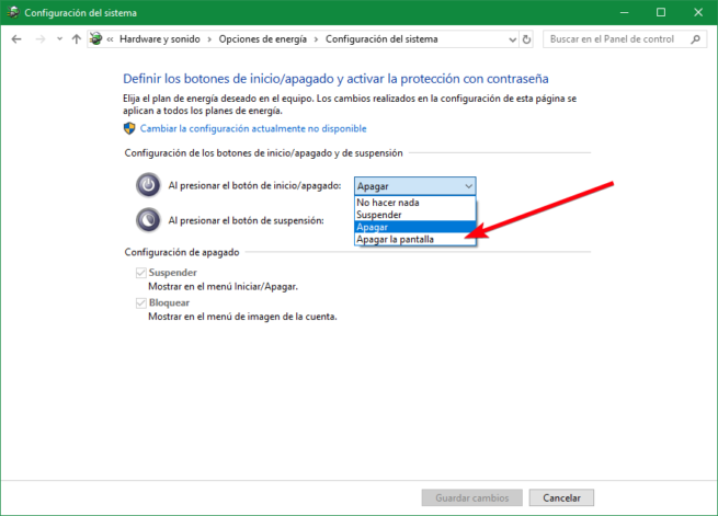 Configurar comportamiento boton encendido pc windows 10