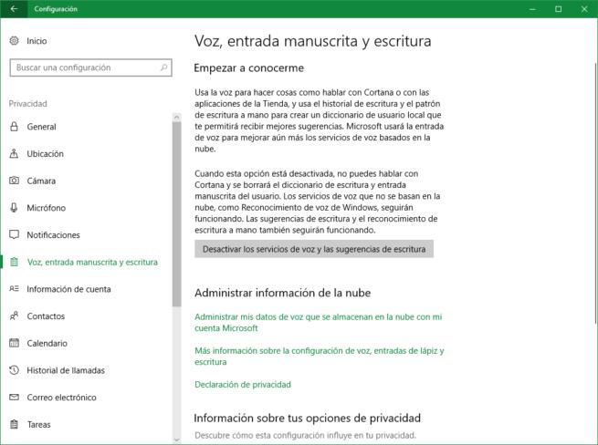 Desactivar los servicios de voz y las sugerencias de escritura Windows 10