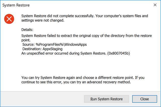 Error restaurar sistema Spotify UWP