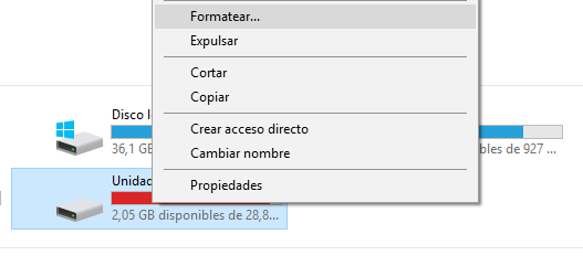 Formatear unidad Windows 10