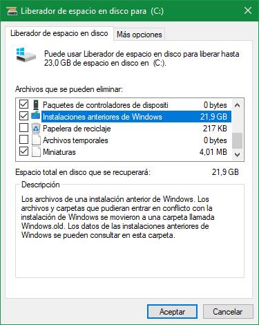 Instalaciones anteriores de Windows 10 Spring Creators Update