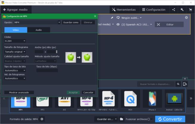 Movavi Video Converter - Calidad de codec
