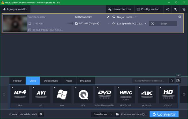 Movavi Video Converter - Elegir codec