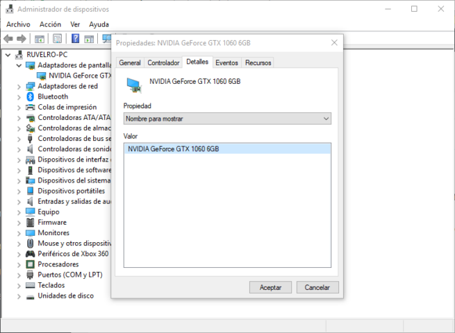 Nombre controlador Windows 10